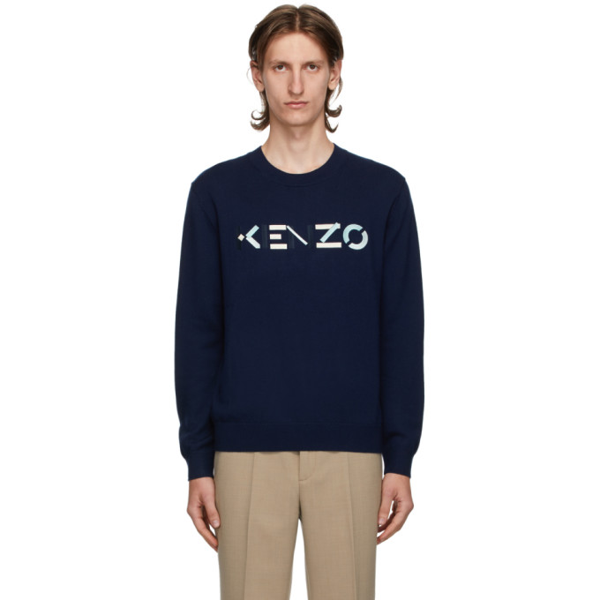 Kenzo Sweater With Multicoloured Logo Embroidery To The Front In 76 Navy Blu