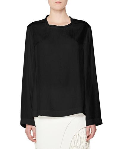 Tom Ford Twisted-Neck Oversized Long-Sleeve Tee In Black