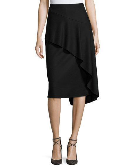Kobi Halperin Inessa Faux-Wrap Pencil Skirt With Ruffled Overlay, Black