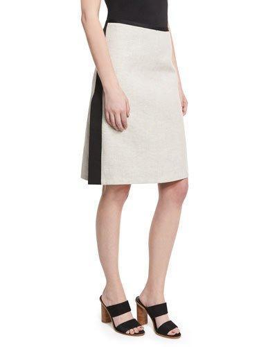 Narciso Rodriguez Striped Slit A-Line Skirt, Black