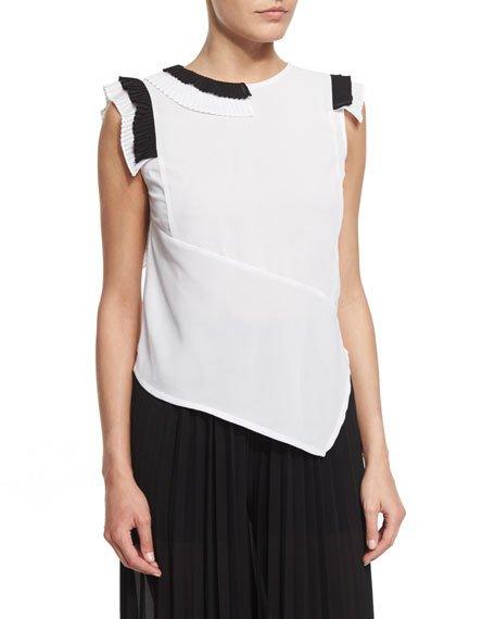 Just Cavalli Sleeveless Asymmetric Two-Tone Blouse, White/Black