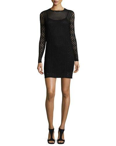 M Missoni Long-Sleeve Openwork Sheath Dress, Black