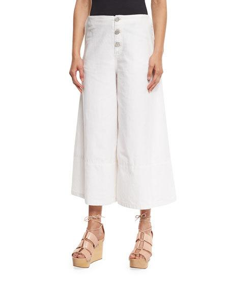 See By ChloÉ Button-Front Cotton Culottes, White Lily
