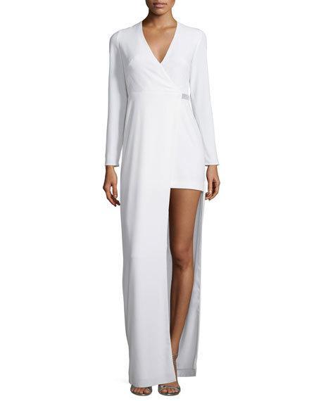 Halston Heritage Long-Sleeve Asymmetric Jersey Gown, Chalk