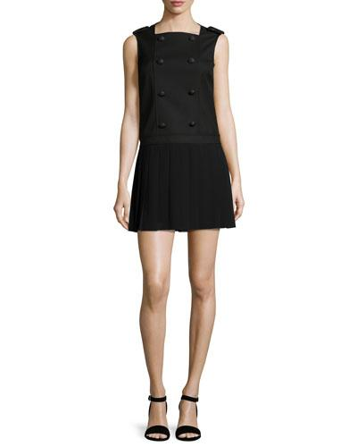 Red Valentino Sleeveless Button-Front Pleated Dress, Black
