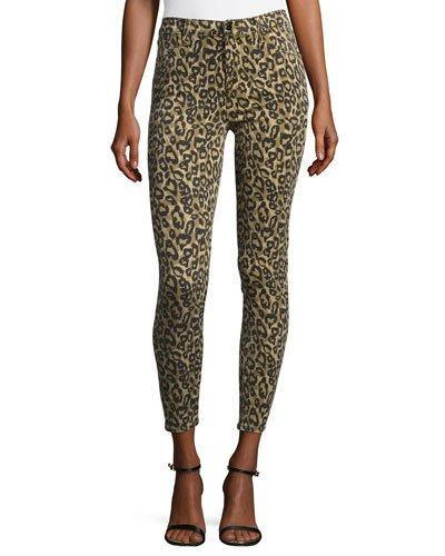 J Brand Alana High-Rise Skinny Ankle Jeans, Gold Leopard