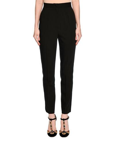Dolce & Gabbana Classic High-Waist Tuxedo Pants, Black