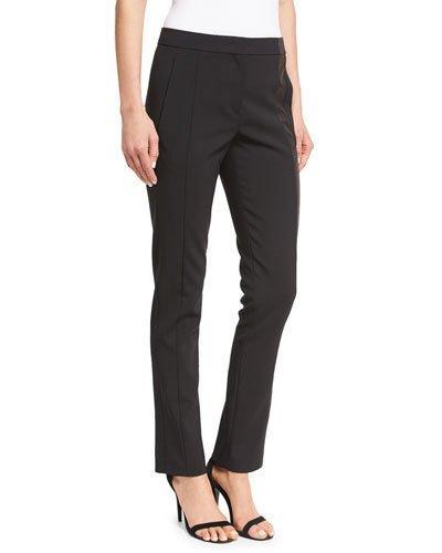 Narciso Rodriguez Side-Stripe Straight-Leg Pants, Black/Silver