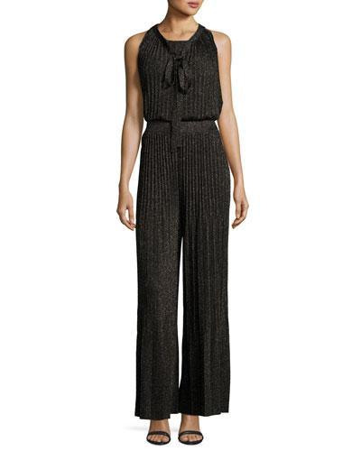 M Missoni Lurex Plisse Crisscross-Back Wide-Leg Jumpsuit In Black
