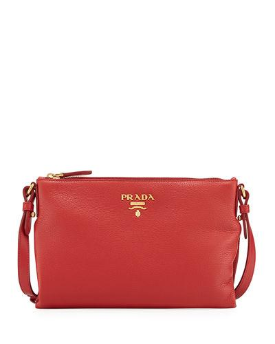 Prada Vitello Daino Medium Pouch Crossbody Bag In Red