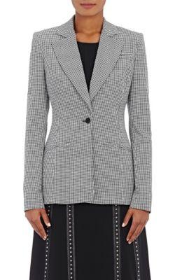 Altuzarra Acacia Mini-Gingham One-Button Blazer, Black/White