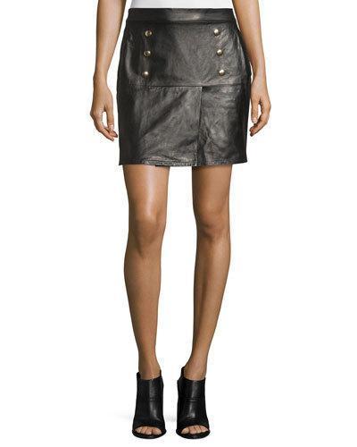 Frame Overlay Leather Mini Skirt, Noir In Black
