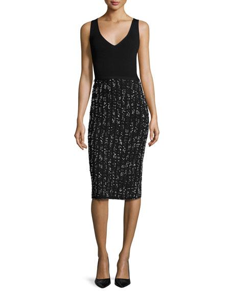 Lela Rose Speckled Tweed Sleeveless V-Neck Dress, Black/Ivory In Black Pattern