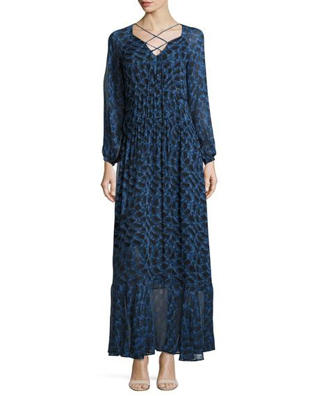 Derek Lam Python-Print Long-Sleeve Maxi Dress, Blue Allium
