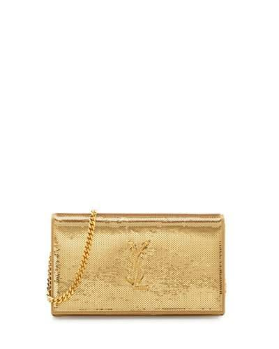 Saint Laurent Monogram Sequined Wallet On A Chain, Gold
