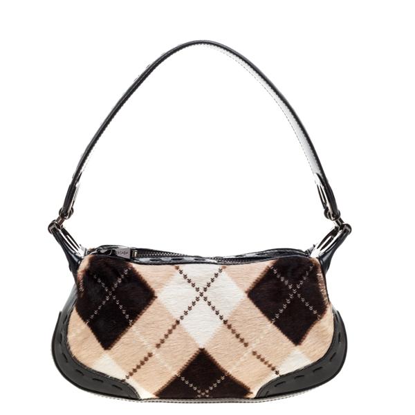 Pre-owned Escada Black/multicolor Calfhair And Leather Shoulder Bag