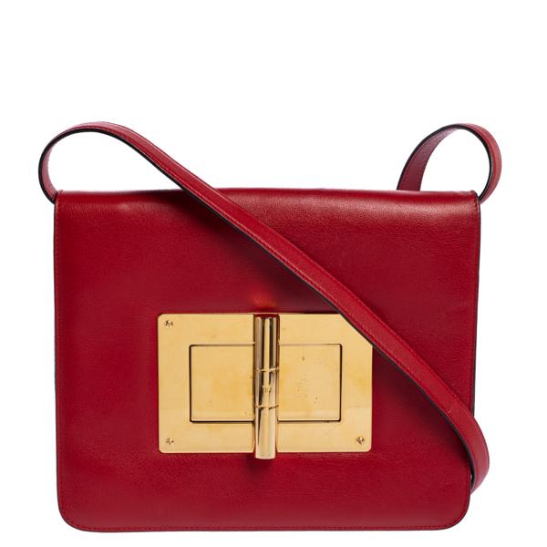 Pre-owned Tom Ford Red Leather Large Natalia Shoulder Bag