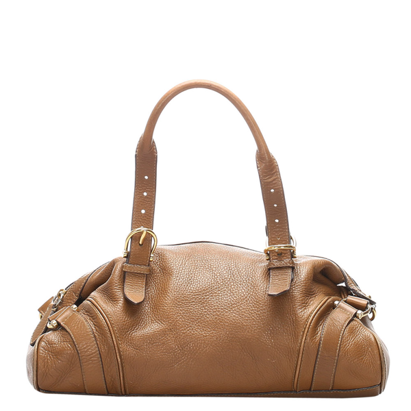 Pre-owned Burberry Beige Leather Shoulder Bag In Brown