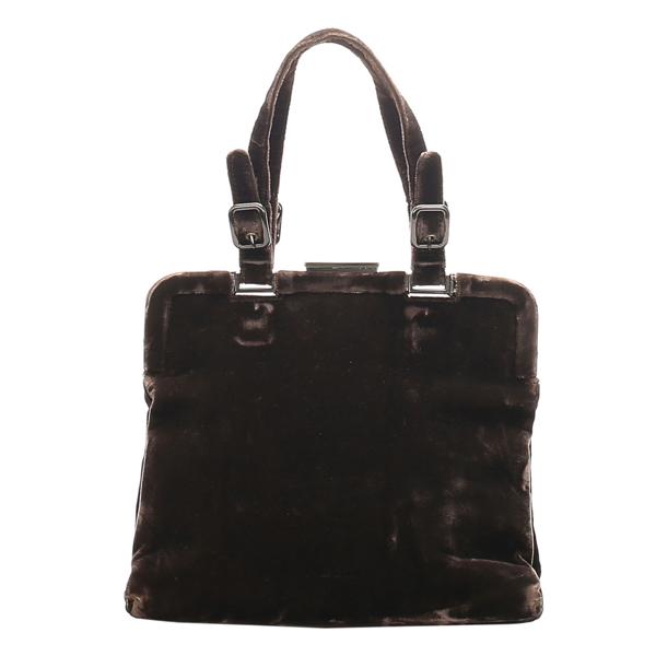 Pre-owned Prada Brown Velvet Shoulder Bag