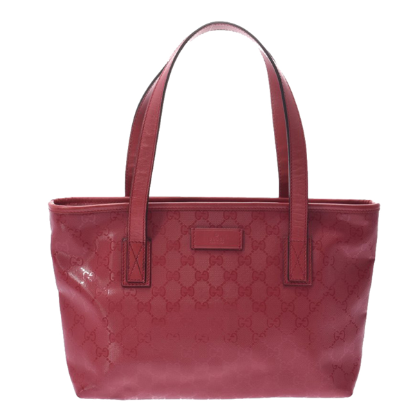 Pre-owned Gucci Pink Gg Pvc Imprime Tote In Red