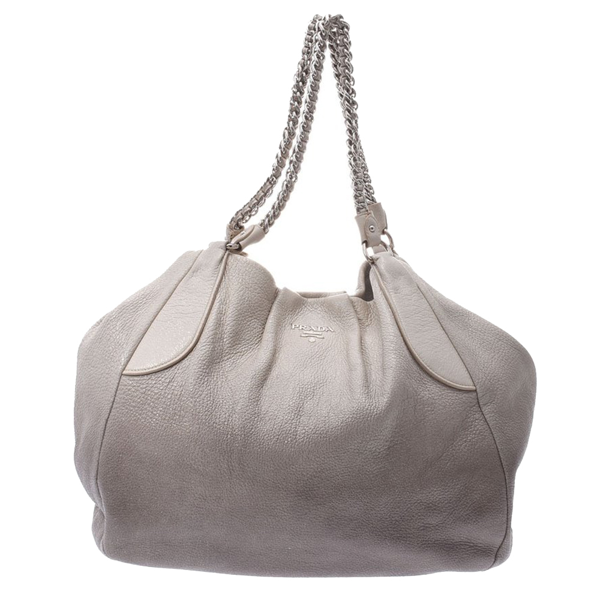 Pre-owned Prada Grey Leather Soft Chain Tote