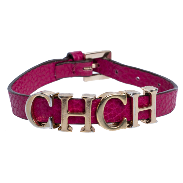 Pre-owned Carolina Herrera Pink Leather Petite Carolina Bracelet