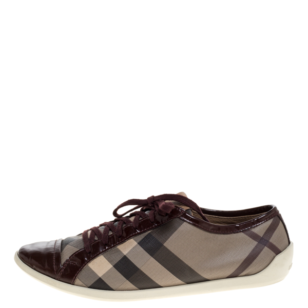 Pre-owned Burberry Beige/burgundy Nova Check Canvas And Patent Leather Lace Up Sneakers Size 40
