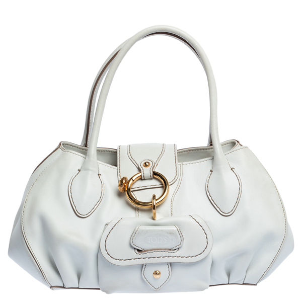 Pre-owned Tod's White Leather Front Pocket Satchel