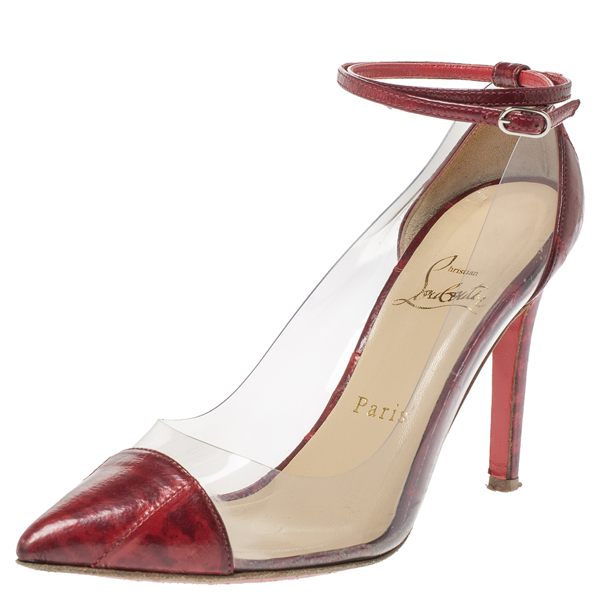 Pre-owned Christian Louboutin Red Leather And Pvc Bis Un Bout Pumps Size 36