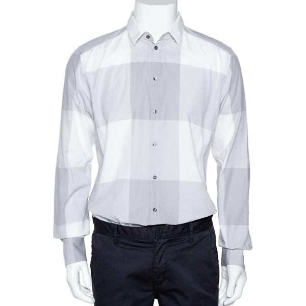 Pre-owned Dolce & Gabbana Pale Grey Plaid Cotton Button Front Shirt Xl