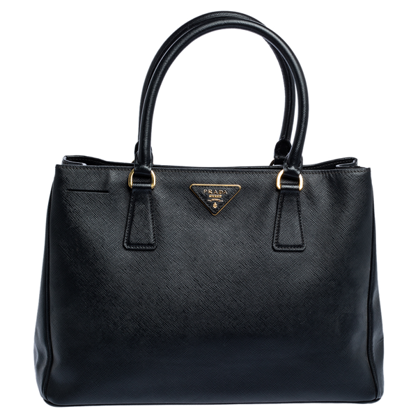 Pre-owned Prada Black Saffiano Lux Leather Medium Tote
