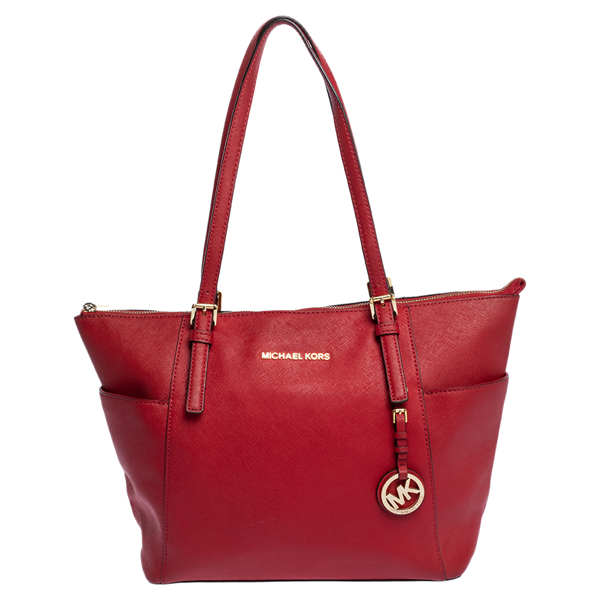 Pre-owned Michael Michael Kors Red Saffiano Leather Top-zip Jet Set Tote