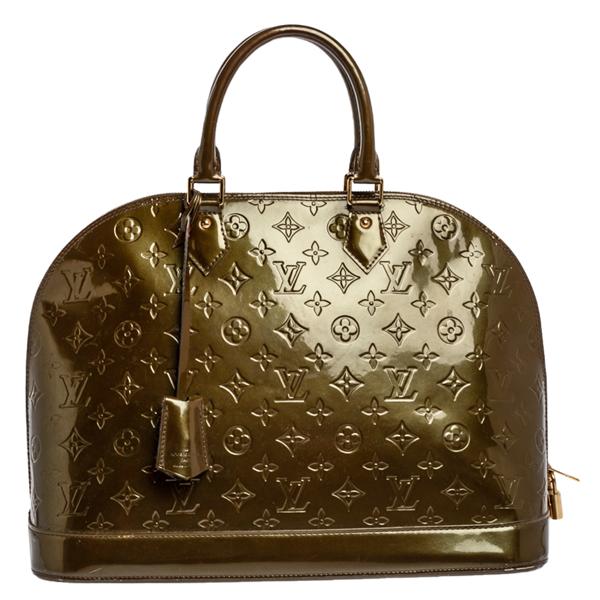 Pre-owned Louis Vuitton Vert Olive Monogram Vernis Alma Gm Bag In Green