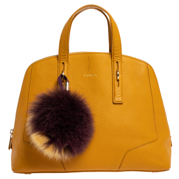 Pre-owned Furla Yellow Leather Perla Satchel