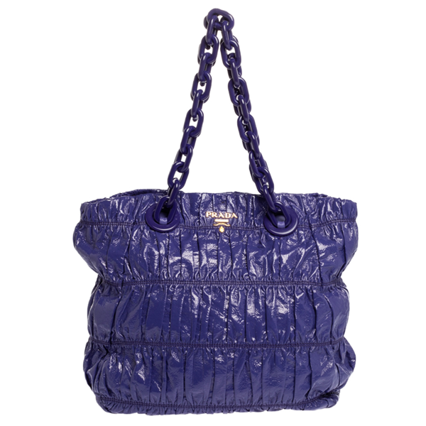 Pre-owned Prada Purple Gaufre Patent Leather Chain Tote