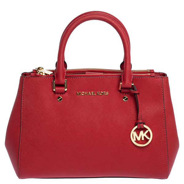 Pre-owned Michael Michael Kors Red Leather Sutton Tote