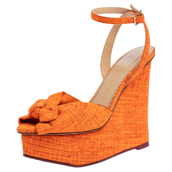 Pre-owned Charlotte Olympia Neon Orange Canvas Bow Ankle Wrap Wedge Sandals Size 37.5