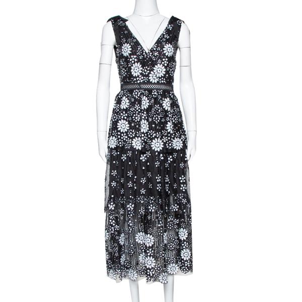 Pre-owned Self-portrait Black Starlet Deco Sequin Tiered Midi Dress S