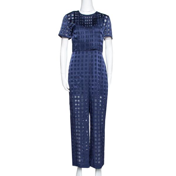 Pre-owned Diane Von Furstenberg Navy Blue Check Patterned Satin Jumpsuit M