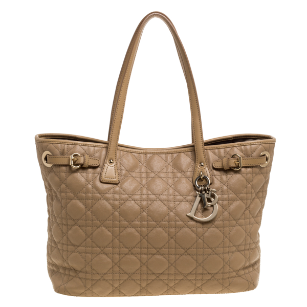 Pre-owned Dior Beige Cannage Coated Canvas And Leather Small Panarea Tote