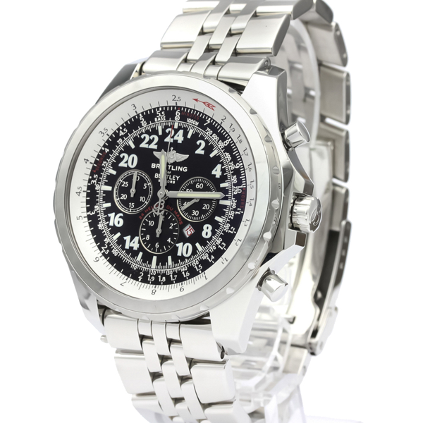 Pre-owned Breitling Black Stainless Steel Bentley Le Mans Limited Edition Automatic A22362 Men's Wristwatch 49 Mm