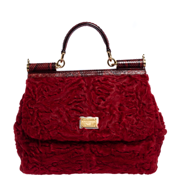 Pre-owned Dolce & Gabbana Red Calfhair And Python Medium Miss Sicily Top Handle Bag In Black