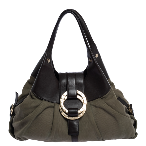Pre-owned Bvlgari Olive Green/brown Canvas And Leather Chandra Hobo