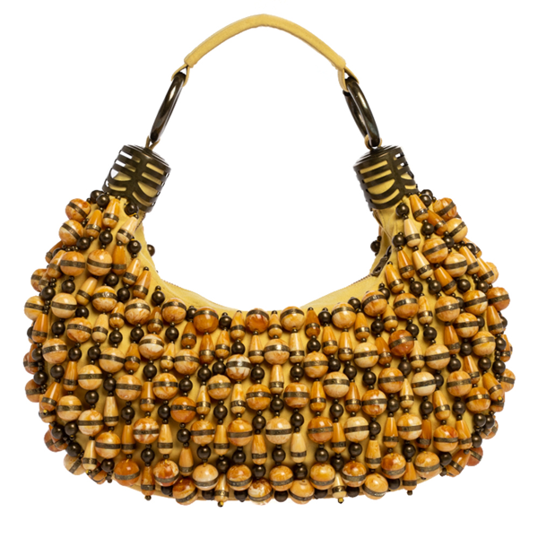 Pre-owned Chloé Yellow Beaded Fabric Crescent Hobo