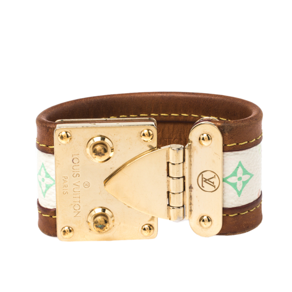 Pre-owned Louis Vuitton Beige Multicolor Monogram Canvas Leather S Lock Wide Cuff Bracelet