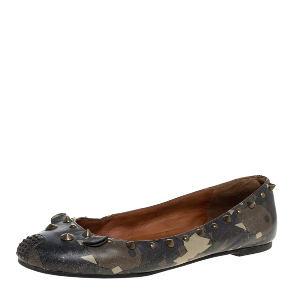 Pre-owned Marc By Marc Jacobs Multicolor Camo Leather Spike Trim Mouse Ballet Flats Size 37