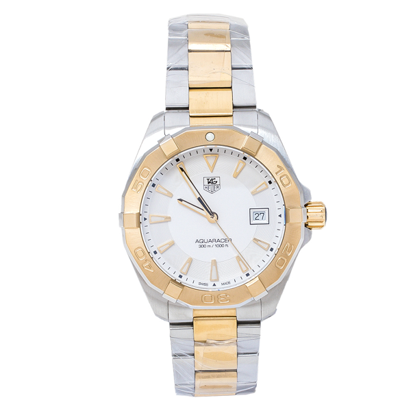 Pre-owned Tag Heuer Silver Opaline Two-tone Stainless Steel Aquaracer Way1120. Bb0930 Men's Wristwatch 40.50 M