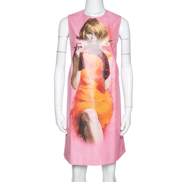 Pre-owned Prada Pink Poster Girl Print Coated Cotton Sleeveless Dress S