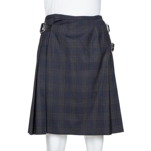 Pre-owned Prada Black Plaid Wool Blend Buckled Wrap Skirt S
