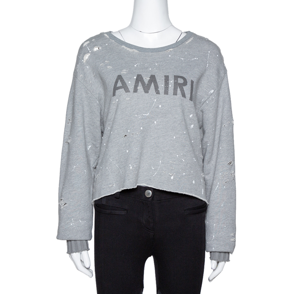 Pre-owned Amiri Grey Cotton Paint Splattered Distressed Sweatshirt Xs